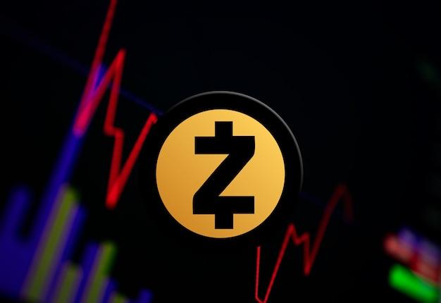 交換チャート上のzcashzec暗号通貨コイン成長チャート