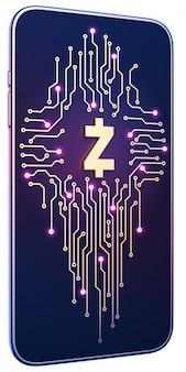 Zcashのシンボルと画面上の回路基板を持つスマートフォン。モバイルマイニングと取引の概念。