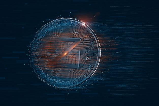 Цифровая валюта zcoin. 3d иллюстрации. содержит обтравочный контур