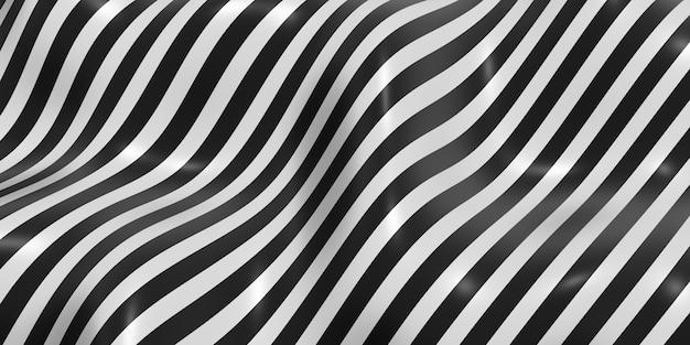 Zebra pattern swaying wave background 3d illustration