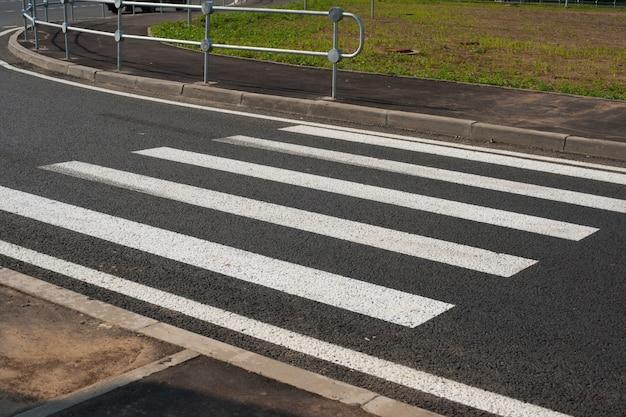 Zebra traffic walk way with blue sky