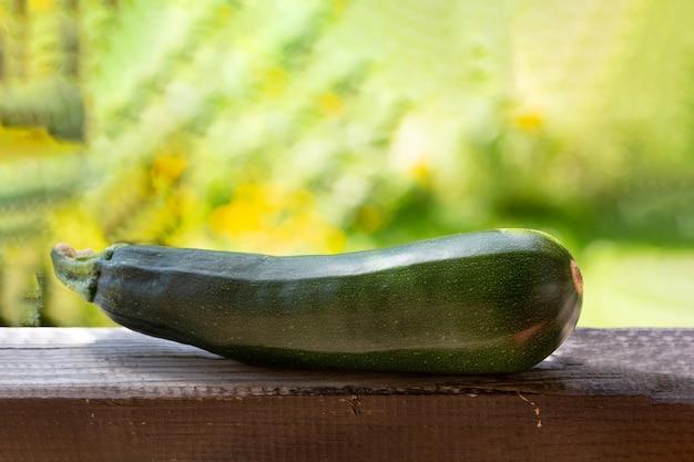 녹색 정원의 배경에 대해 나무 기질에 zeden 줄무늬 호박. 건강한 음식.