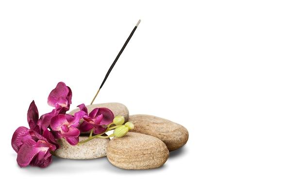 Zen basalt stones and flowers