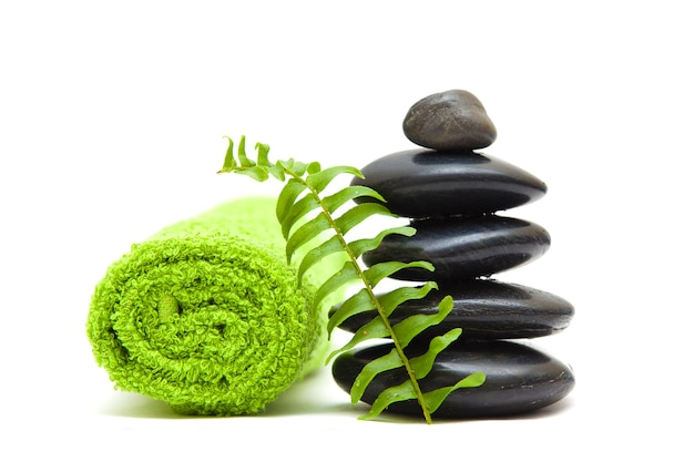Zen concept with green leaves - alternative medicine and treatment