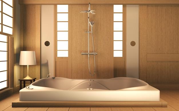 Дзен дизайн ванной комнаты деревянная стена и пол - японский стиль. 3d рендеринг