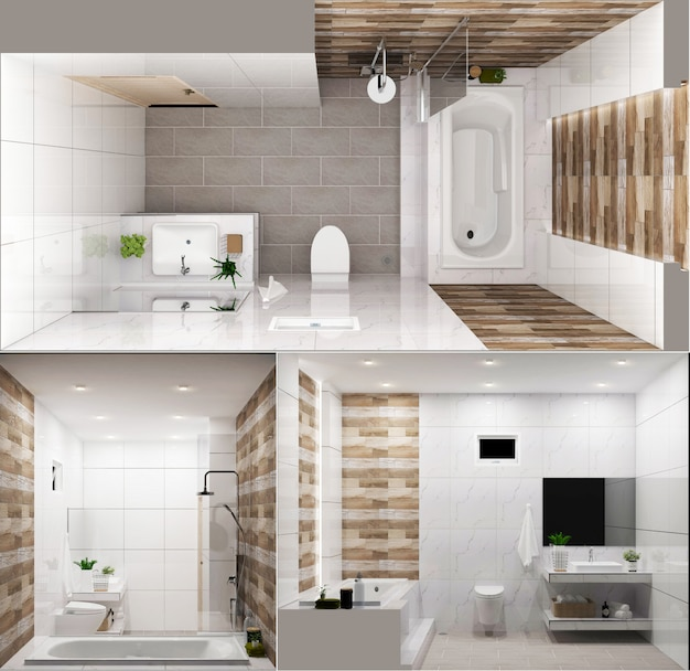 Zen design bathroom wooden wall and floor - japanese style. 3d rendering