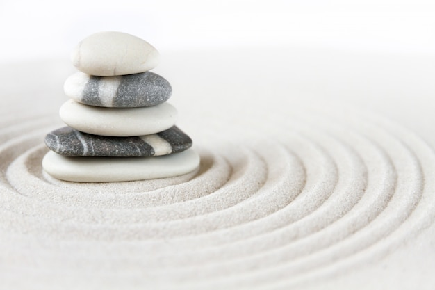 Zen japanese garden with balancing stones