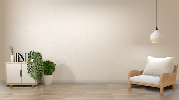 Zen living room empty white wall background with decoration japan style.