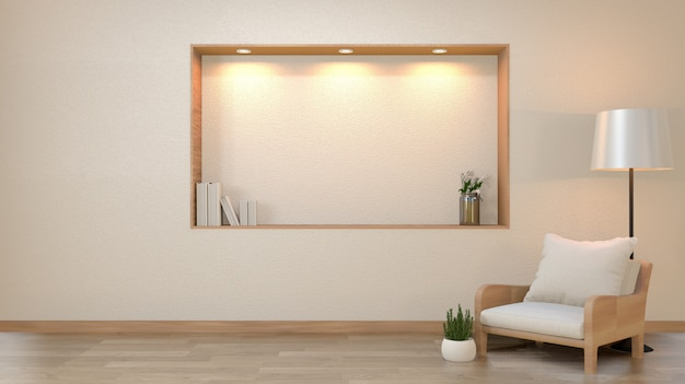 Zen living room empty white wall with decoration japan style design down lights on shelf wall. 3d rendering