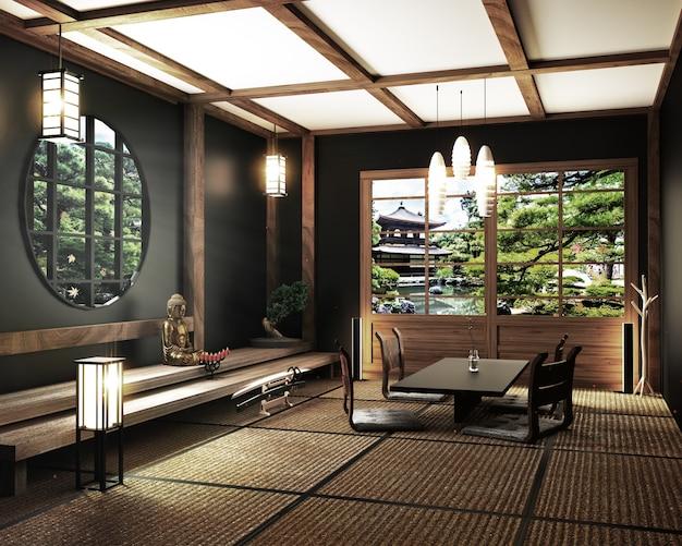 Zen living room with table katana sword lamp and bonsai tree on room tatami mat floor. 3d