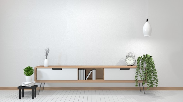 Zen modern empty room, minimal design japanese style. 3d rendering