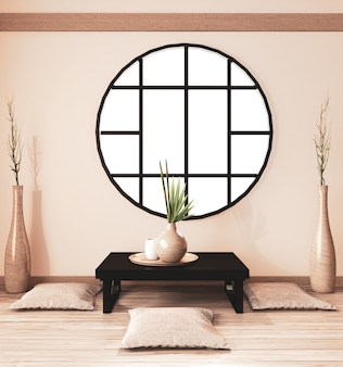 Zen room interior, ryokan room  and decoration wooden , earth tone.3d rendering
