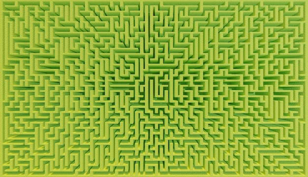 Zenithal view of a very large green bush maze with wide-angle lens effect. 3d illustration