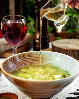 аzeri traditional dyushbara with dried mint and vinegar