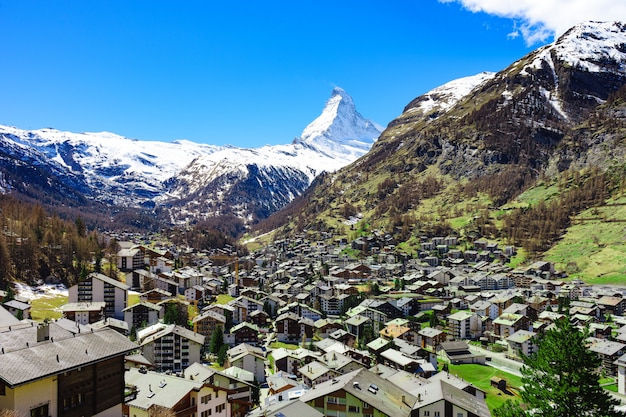 Zermatt village and matterhorn peak in background Premium Photo