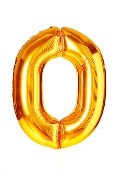 Zero digit golden balloon isolated on white