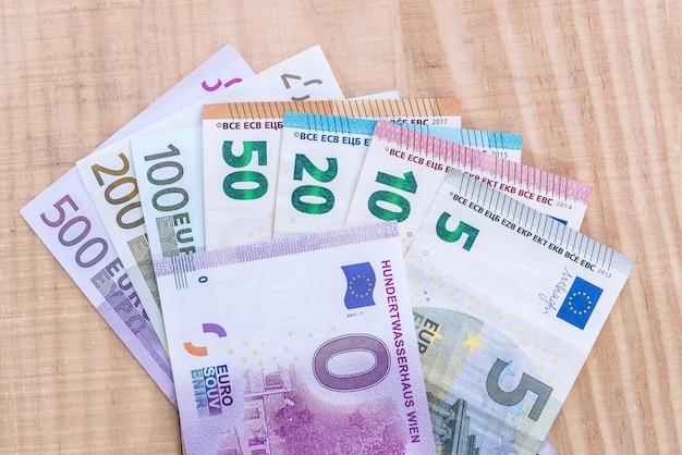 Zero euro souvenir with colorful euro banknotes