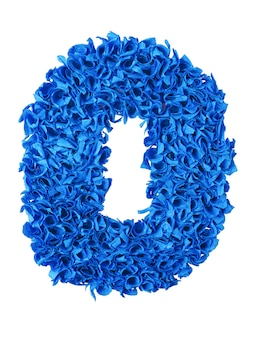 Zero, handmade number 0 from blue scraps of paper isolated on white
