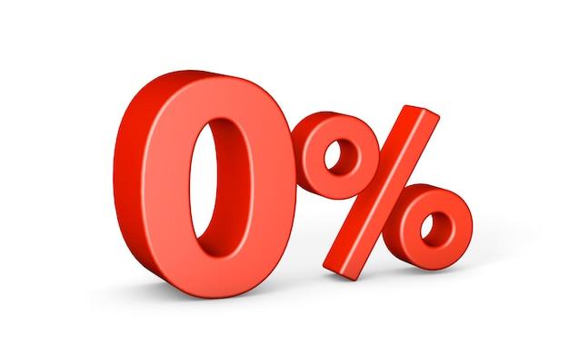 Нулевой процент 0 изолирован на белом 3d-рендеринге