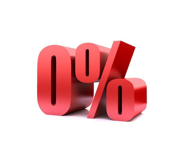 Нулевой процент 0% символ .3d-рендеринг