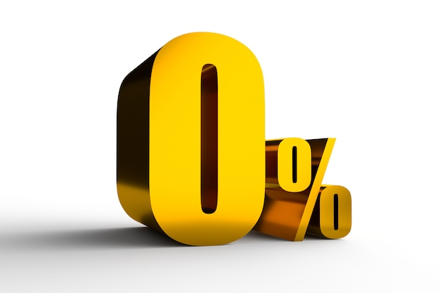 Zero percent golden symbol for interest rate of credit card 3d rendering