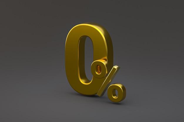 Знак нулевого процента и скидка на продажу на черном фоне со специальной ставкой предложения. 3d рендеринг