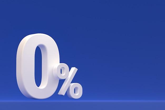 Знак нулевого процента и скидка на продажу на синем фоне со специальной ставкой предложения. 3d рендеринг