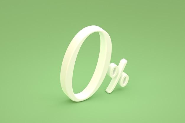 Знак нулевого процента и скидка на продажу на зеленом фоне со специальной ставкой предложения. 3d рендеринг