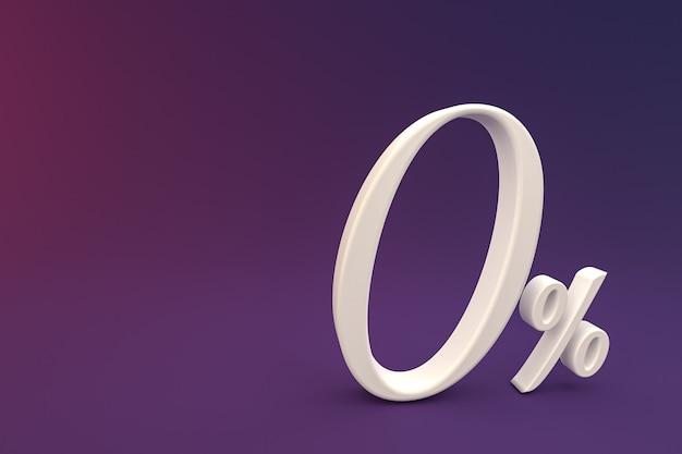 Знак нулевого процента и скидка на продажу на фиолетовом фоне со специальной ставкой предложения. 3d рендеринг