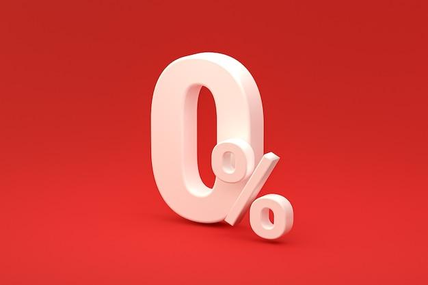 Знак нулевого процента и скидка на продажу на красном фоне со специальной ставкой предложения. 3d рендеринг