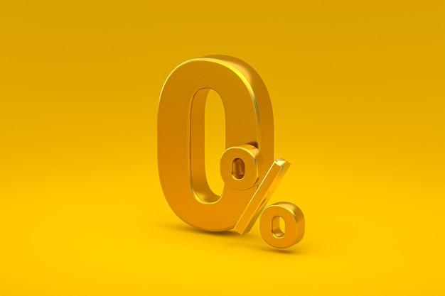 Знак нулевого процента и скидка на продажу на желтом фоне со специальной ставкой предложения. 3d рендеринг