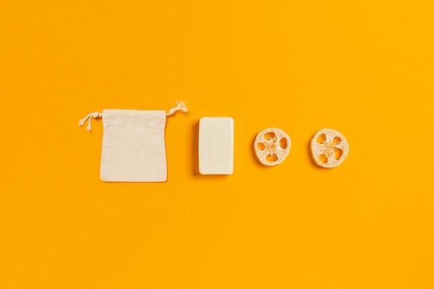 Zero waste accessories on yellow.