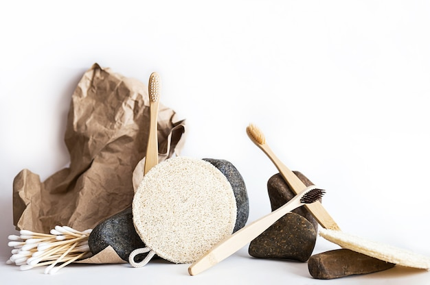 Zero waste bath accessories minimal still life with natural beauty products and stones