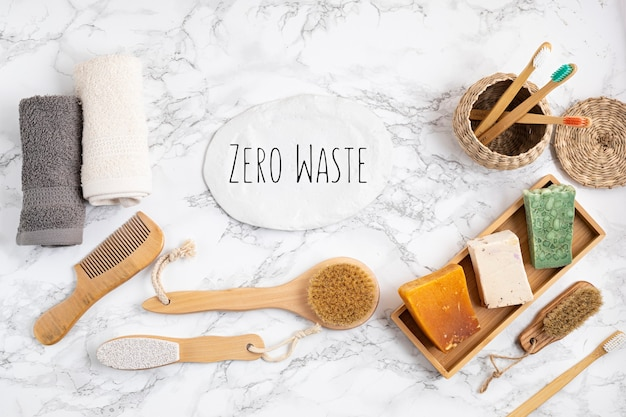 Zero waste bathroom kit. set of eco friendly personal hygienereusable accessories. bamboo tooth brushes, soap bars, dry shampoo. sustainable, ethical, plastic free idea