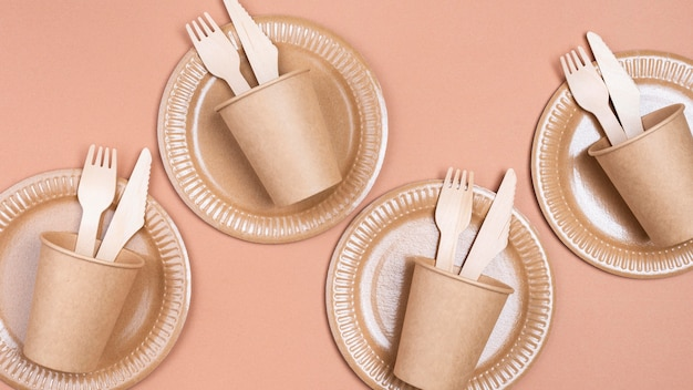 Zero waste biodegradable tableware cutlery in cups