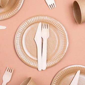 Zero waste biodegradable tableware cutlery on plate