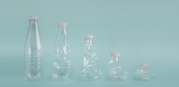 제로 폐기물 캠페인 개념. 플라스틱 병 제품을 줄이십시오. 높음에서 낮음으로 레이아웃