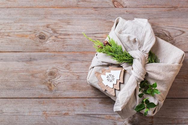 제로 웨이스트 크리스마스 컨셉 핸드메이드 선물 상자 보자기풍