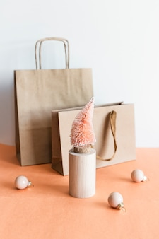 Zero waste christmas tree with brown paper bags