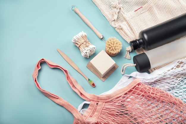 Zero waste concept? cotton bags, reusable water bottles and eco friendly accessories