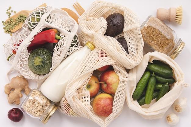 Zero waste concept. eco-friendly shopping, flat lay