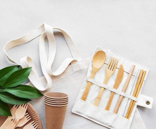 Zero waste concept,  recycled tableware
