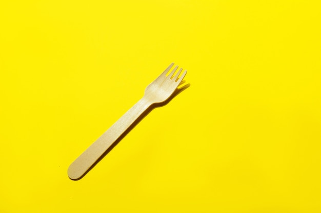 Zero waste concept. set of eco friendly wooden cutlery. plastic free concept. top view. copy space
