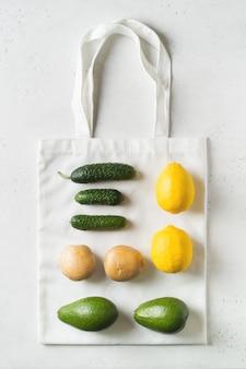 Zero waste concept. textile ecologiical shopping bags  on white background