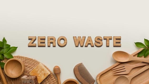 ゼロウェイストコンセプト、木製の台所用品と白い背景、創造的な背景のコピースペース