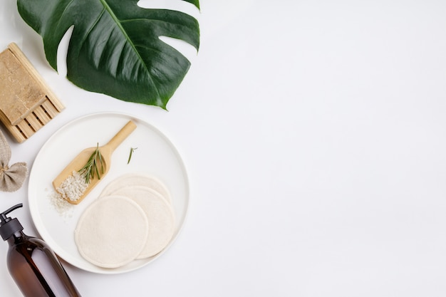 Zero waste cosmetic products, flat lay, copy space