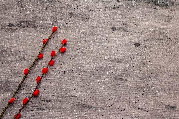 廃棄物のないイースターのコンセプト。赤い柳のシール。プラスチックなし、エコトレンド。灰色のコンクリートの背景