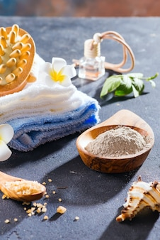 Zero waste . eco-friendly bath set. with brushes, sea salt, towel, aroma in glass bottle , bast and palm leafs