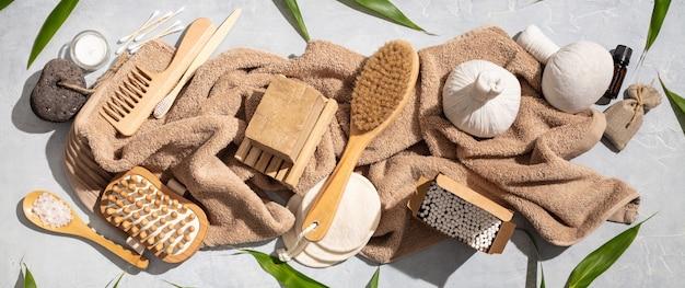 Zero waste, eco friendly bathroom accessories on concrete