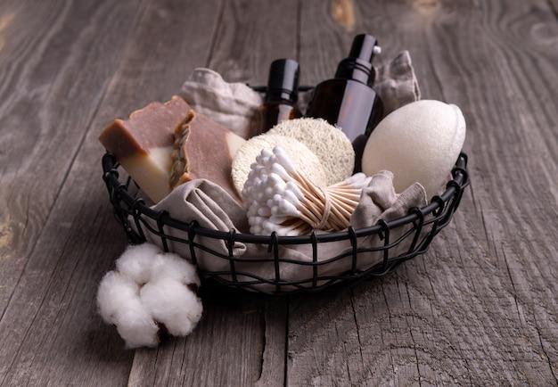 Zero waste eco friendly bathroom accessories on wooden background